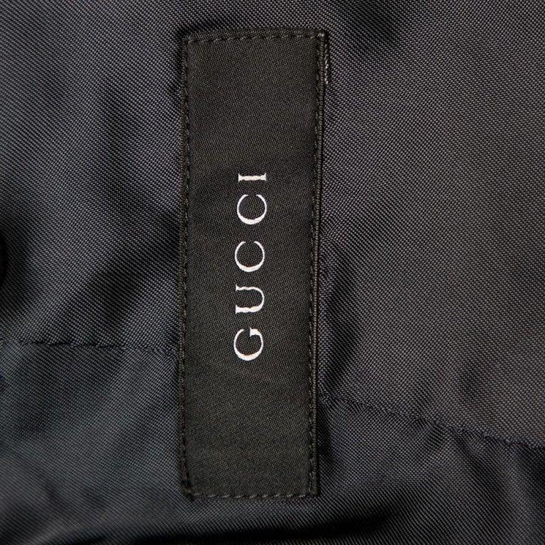Gucci Navy Blue Corduroy Leather Trim Button Front Blazer M For Sale 2