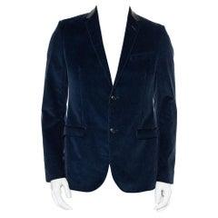 Gucci Navy Blue Corduroy Leather Trim Button Front Blazer M
