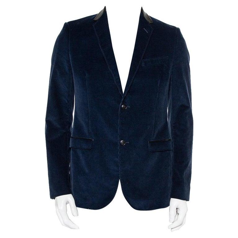 Gucci Navy Blue Corduroy Leather Trim Button Front Blazer M For Sale