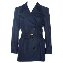 Gucci Navy Blue Cotton Belted Double Breasted Coat M