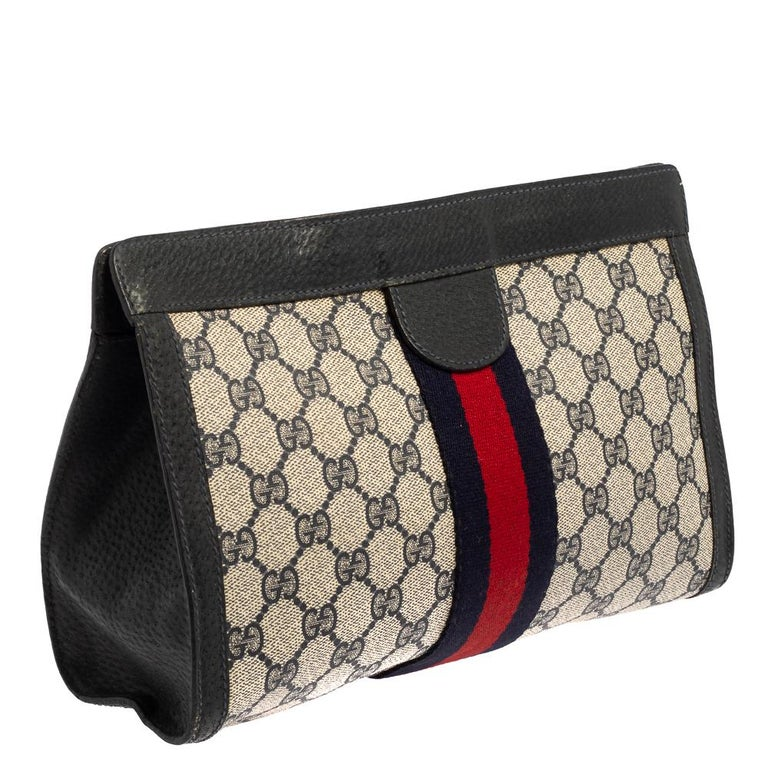 Black Gucci Navy Blue GG Canvas and Leather Vintage Web Clutch For Sale
