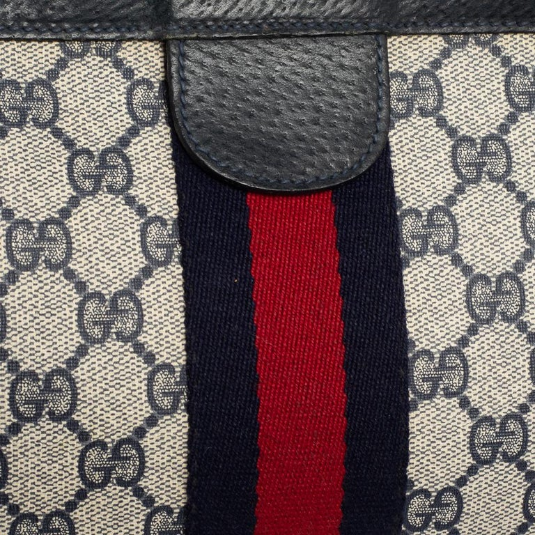 Gucci Navy Blue GG Canvas and Leather Vintage Web Clutch For Sale 3