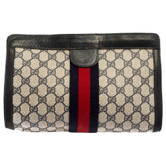 Gucci Navy Blue GG Canvas and Leather Vintage Web Clutch