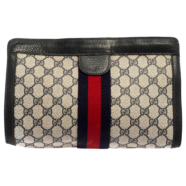 Gucci Navy Blue GG Canvas and Leather Vintage Web Clutch For Sale