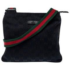 Gucci Navy Blue GG Canvas Small Vintage Web Messenger Bag