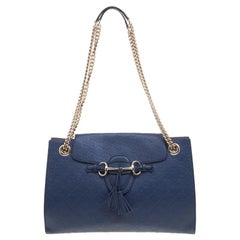 Gucci Navy Blue Guccissima Leather Large Emily Chain Shoulder Bag