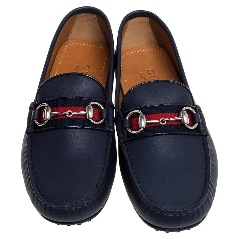 Black Gucci Navy Blue Leather Web Horsebit Loafers Size 40.5 For Sale