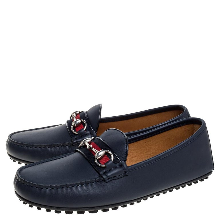 Men's Gucci Navy Blue Leather Web Horsebit Loafers Size 40.5 For Sale