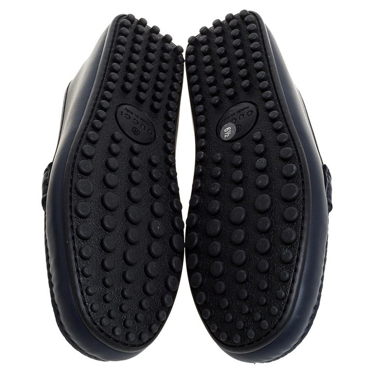 Gucci Navy Blue Leather Web Horsebit Loafers Size 40.5 For Sale 2