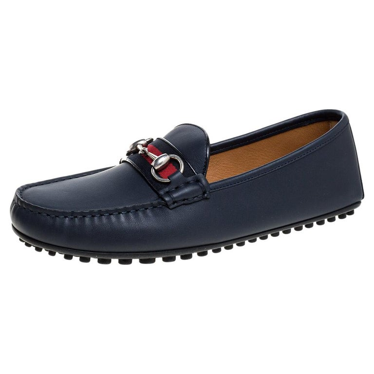 Gucci Navy Blue Leather Web Horsebit Loafers Size 40.5 For Sale