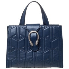 Gucci Navy Blue Matelassé Leather For Ounass Dionysus Tote