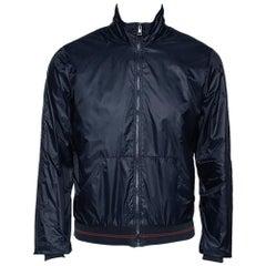 Gucci Navy Blue Nylon Zip Front Bomber Jacket M