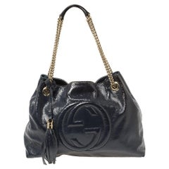 Gucci Navy Blue Patent Leather Medium Soho Chain Tote