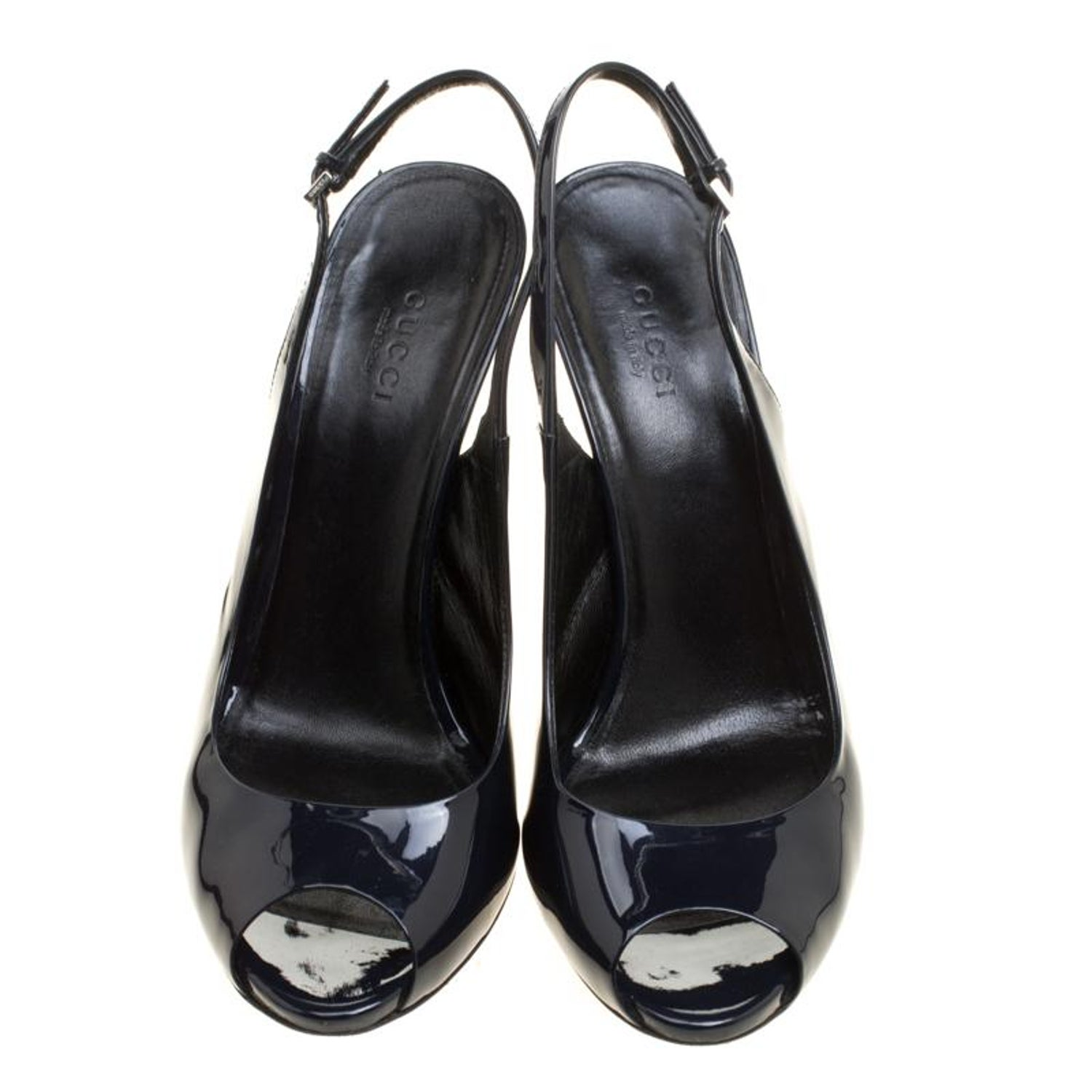 c47327ad15b Gucci Navy Blue Patent Leather Peep Toe Slingback Sandals Size 38 For Sale  at 1stdibs