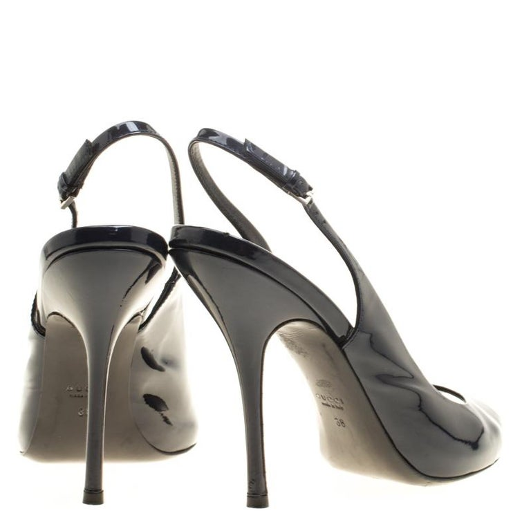 fdaa6a7f33d Black Gucci Navy Blue Patent Leather Peep Toe Slingback Sandals Size 38 For  Sale