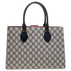 Gucci Navy Blue/Red GG Supreme Top Handle Bag