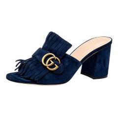 Gucci Navy Blue Suede GG Marmont Fringe Slide Sandals Size 40.5