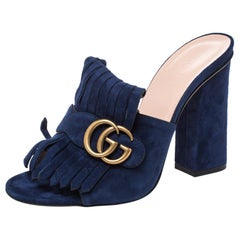 Gucci Navy Blue Suede GG Marmont Fringed Slide Sandals Size 38