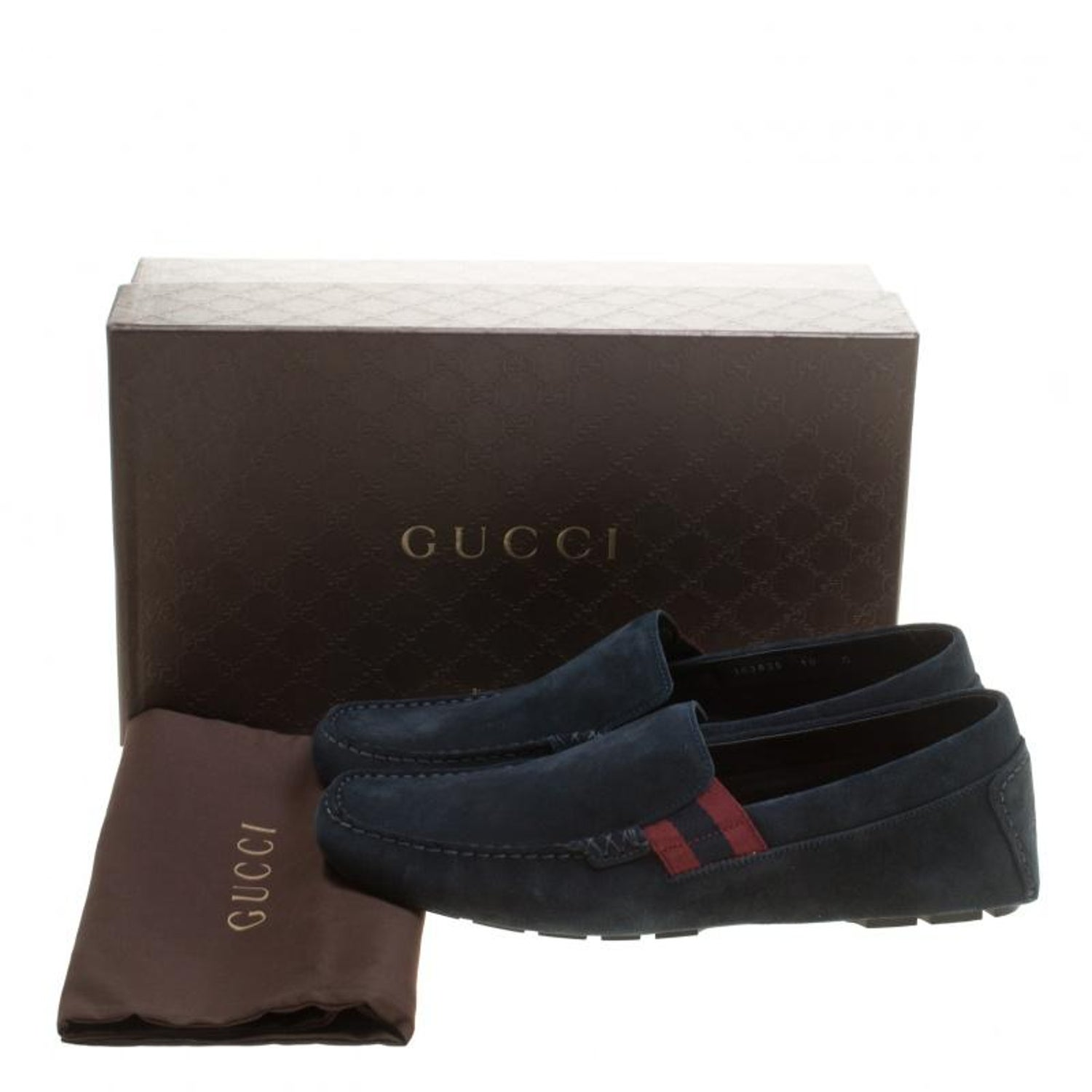 471dd396165bb5 Gucci Navy Blue Suede Web Detail Loafers Size 44 For Sale at 1stdibs