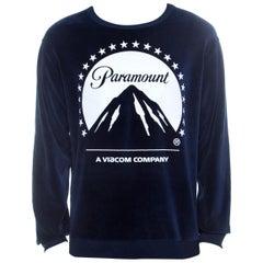 Gucci Navy Blue Velvet Paramount Printed Sweatshirt M