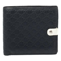 Gucci Navy Blue/White GG Microguccissima Leather Bifold Wallet