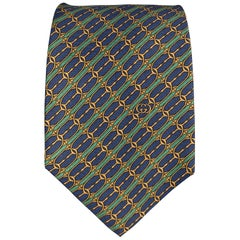 GUCCI Navy & Green Horsebit Print Silk Tie