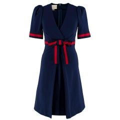 Gucci Navy Grosgrain-Trimmed Stretch-Ponte Mini Dress - Size XS