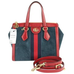 Gucci Navy Red Sherry Small  Web Satchel 2way 2gz0129 Blue Suede Cross Body Bag