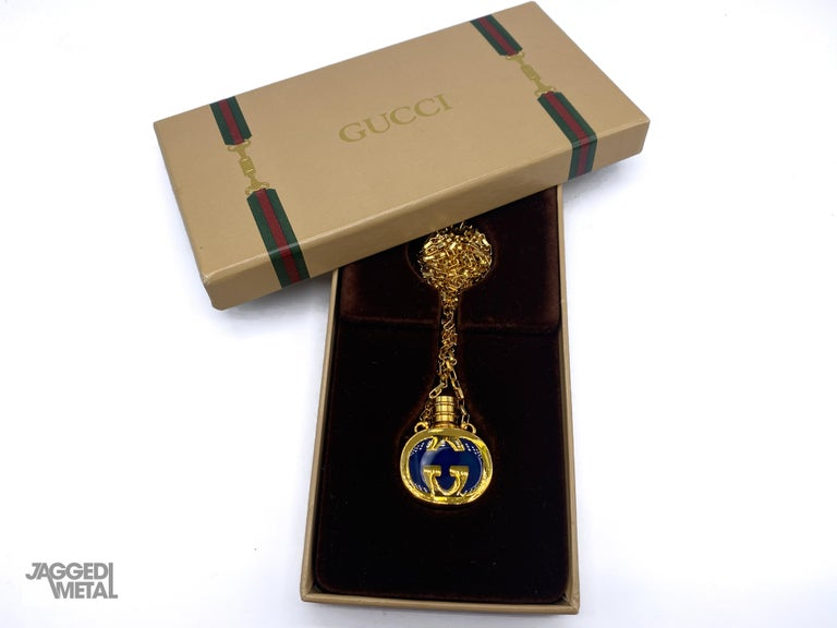 GUCCI Necklace Vintage 1970s Perfume Bottle Pendant In New Condition In London, GB