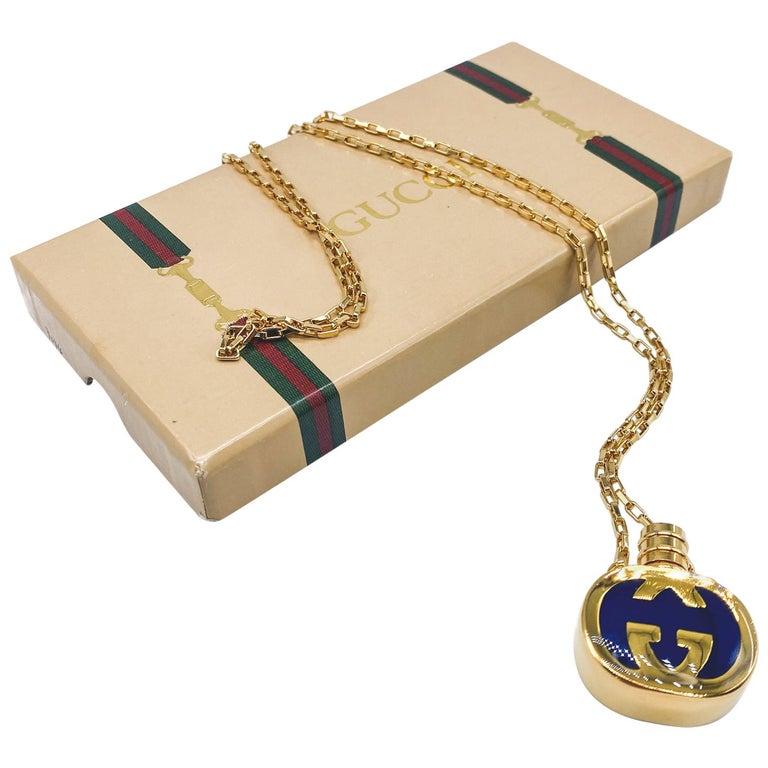 GUCCI Necklace Vintage 1970s Perfume Bottle Pendant