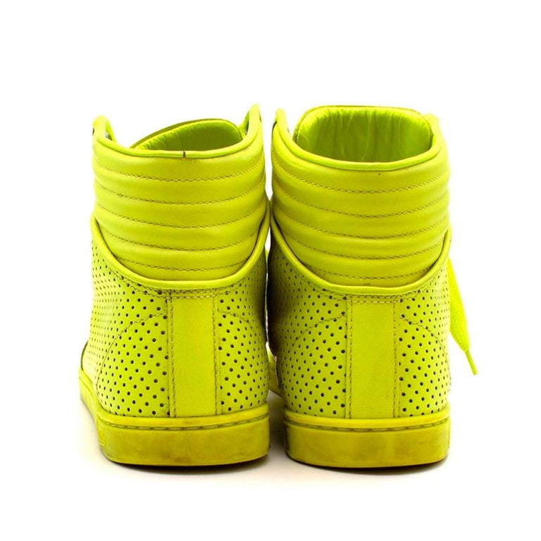 Gucci Neon Yellow Perforated Leather High Top Trainers - Size 38 In Excellent Condition For Sale In London, GB