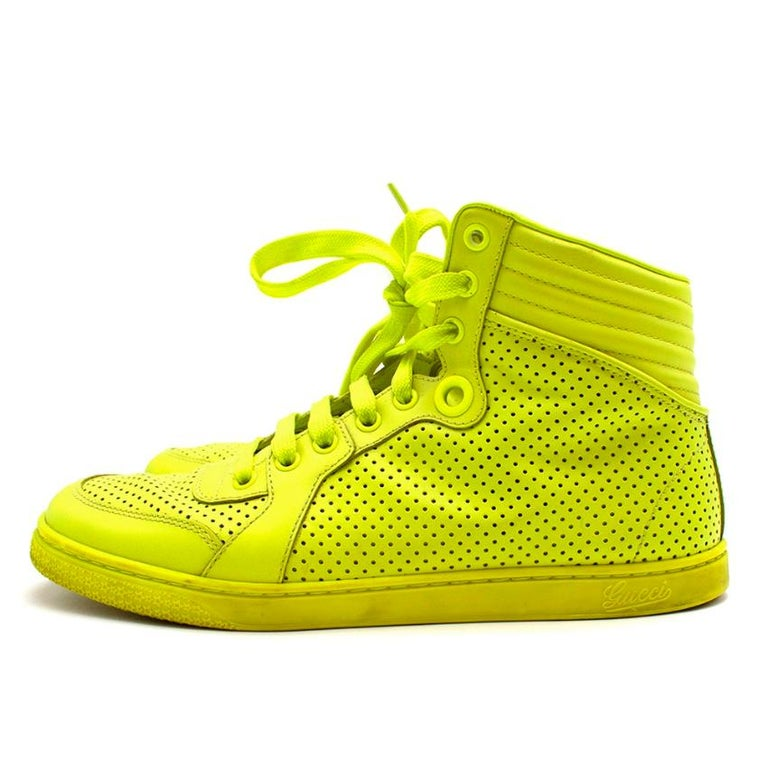Women's or Men's Gucci Neon Yellow Perforated Leather High Top Trainers - Size 38 For Sale