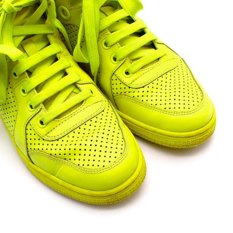 Gucci Neon Yellow Perforated Leather High Top Trainers - Size 38 For Sale 1