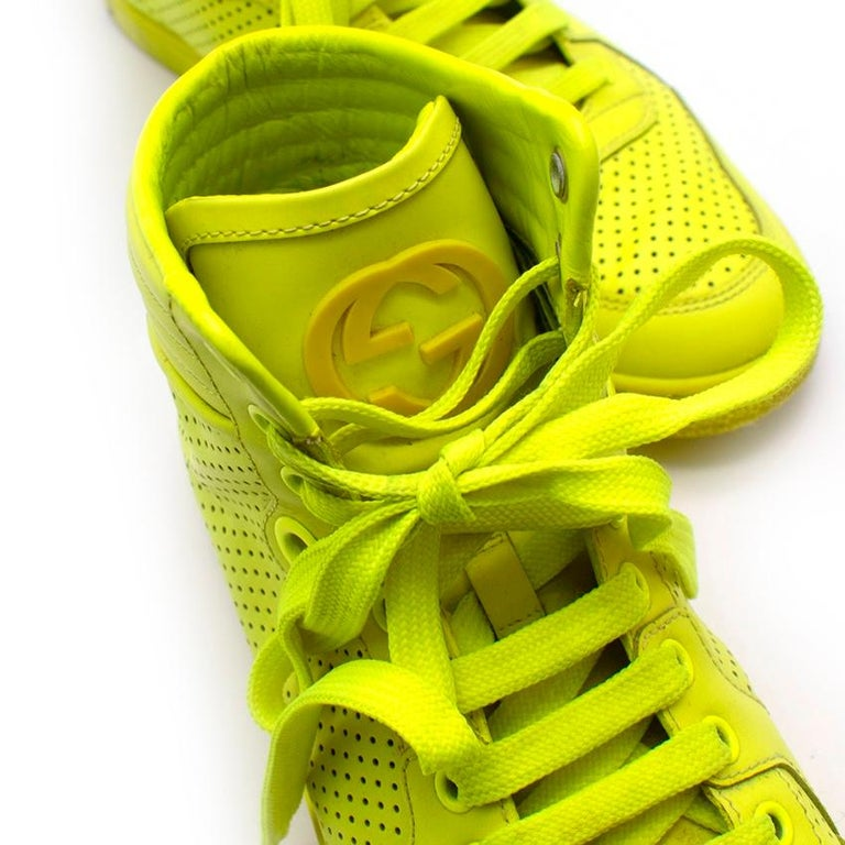 Gucci Neon Yellow Perforated Leather High Top Trainers - Size 38 For Sale 2