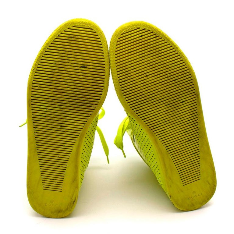 Gucci Neon Yellow Perforated Leather High Top Trainers - Size 38 For Sale 4