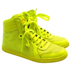 Gucci Neon Yellow Perforated Leather High Top Trainers - Size 38