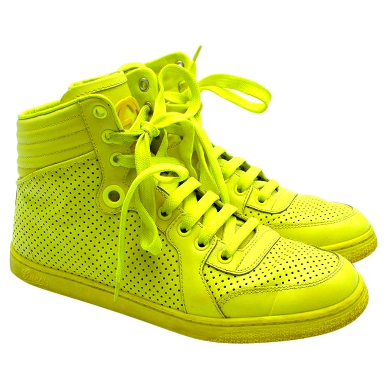 Gucci Neon Yellow Perforated Leather High Top Trainers - Size 38 For Sale