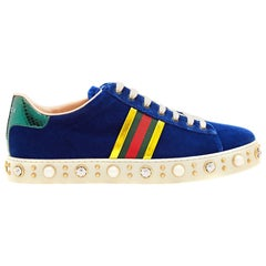 Gucci New Ace Faux-Pearl and Crystal Embellished Velvet Sneakers