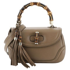 Gucci New Bamboo Convertible Top Handle Bag Leather Medium