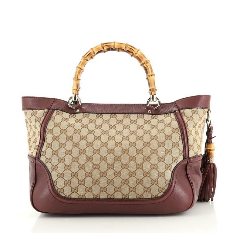 Brown Gucci New Bamboo Tote Canvas Medium