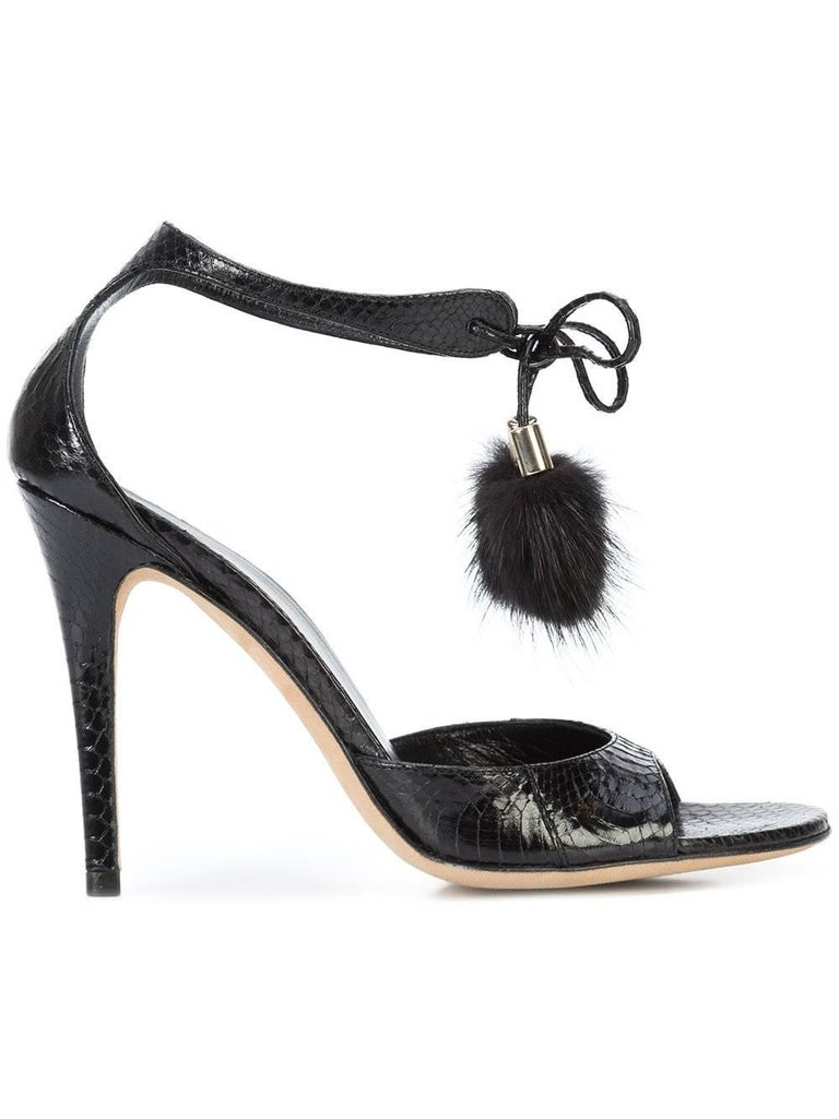 Gucci New Black Embossed Snakeskin Fur Pom Pom Evening Sandals Heels in Box In New never worn Condition For Sale In Chicago, IL