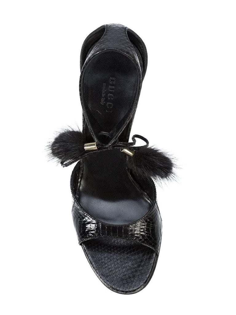 Gucci New Black Embossed Snakeskin Fur Pom Pom Evening Sandals Heels in Box For Sale 1