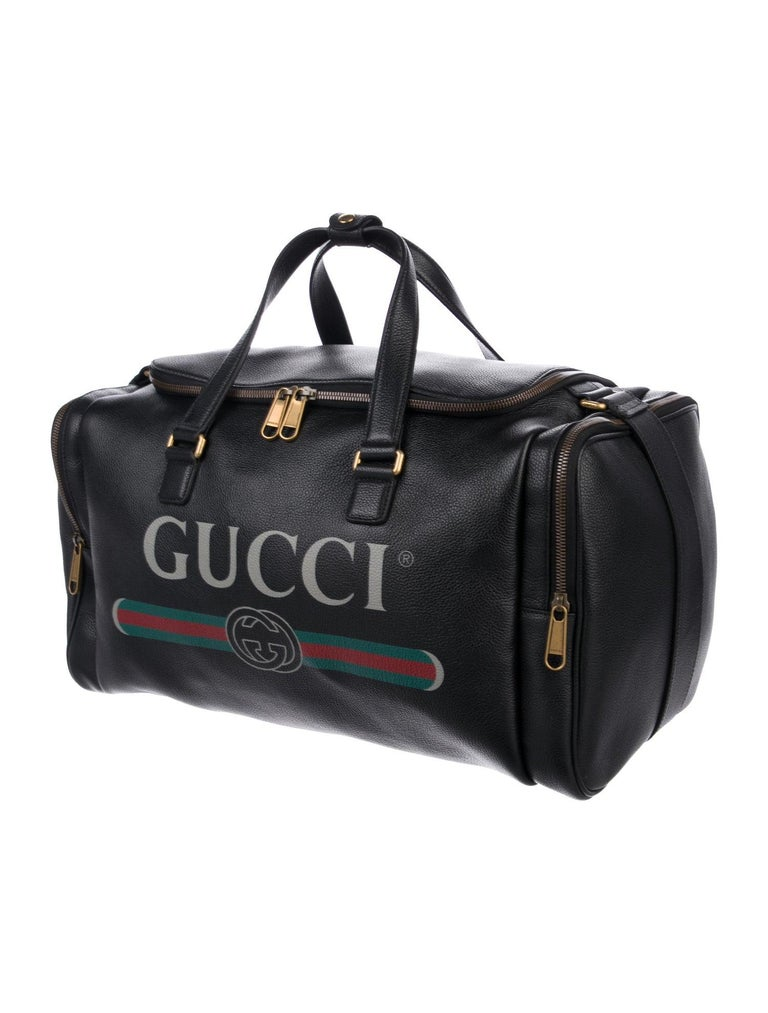 Gucci NEW Black Leather Gold Duffle Weekender Tote Top Handle Satchel Bag  Leather  Gold-tone hardware Woven lining Zipper closure Handle drop 8
