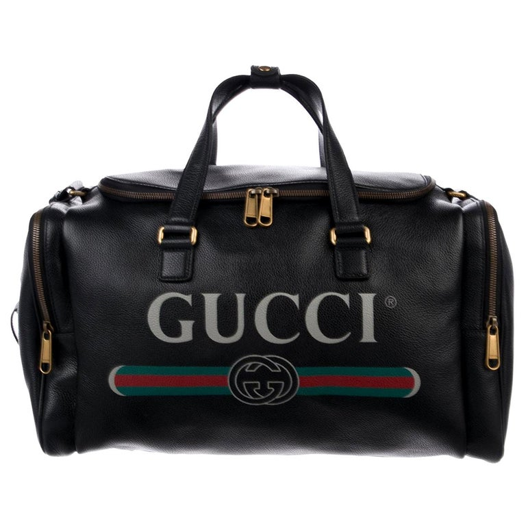 Gucci NEW Black Leather Logo Gold Duffle Weekender Tote Top Handle Satchel Bag