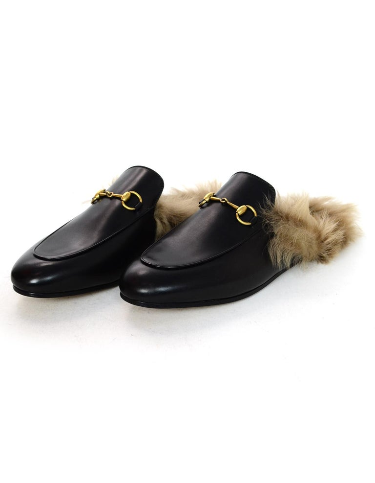 cabad02662fd Gucci New Black Leather Princetown Slippers W  Lamb Fur   Brass Horsebit Sz  39.5 Made