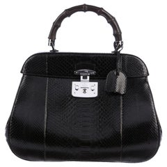 Gucci NEW Black Snakeskin Exotic Silver Kelly Top Handle Satchel Bag in Box
