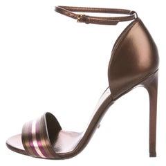 Gucci NEW Bronze Metallic Striped Leather Evening Sandals Heels Pumps in Box