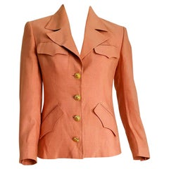 "GUCCI ""New"" Burnt Pink Sun Design on the Buttons Silk Jacket - Unworn"