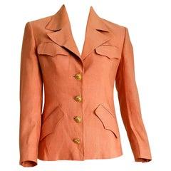 "GUCCI ""New"" Burnt Pink Sun Design on the Buttons Silk Jacket - Unworn"