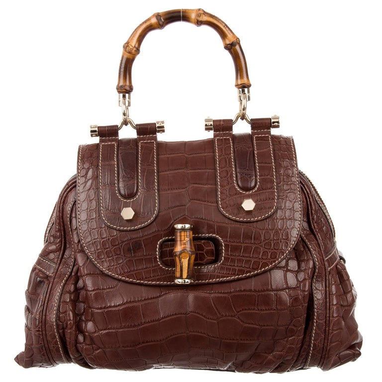 Gucci NEW Cognac Brown Crocodile Exotic Skin Bamboo Evening Satchel Shoulder Bag